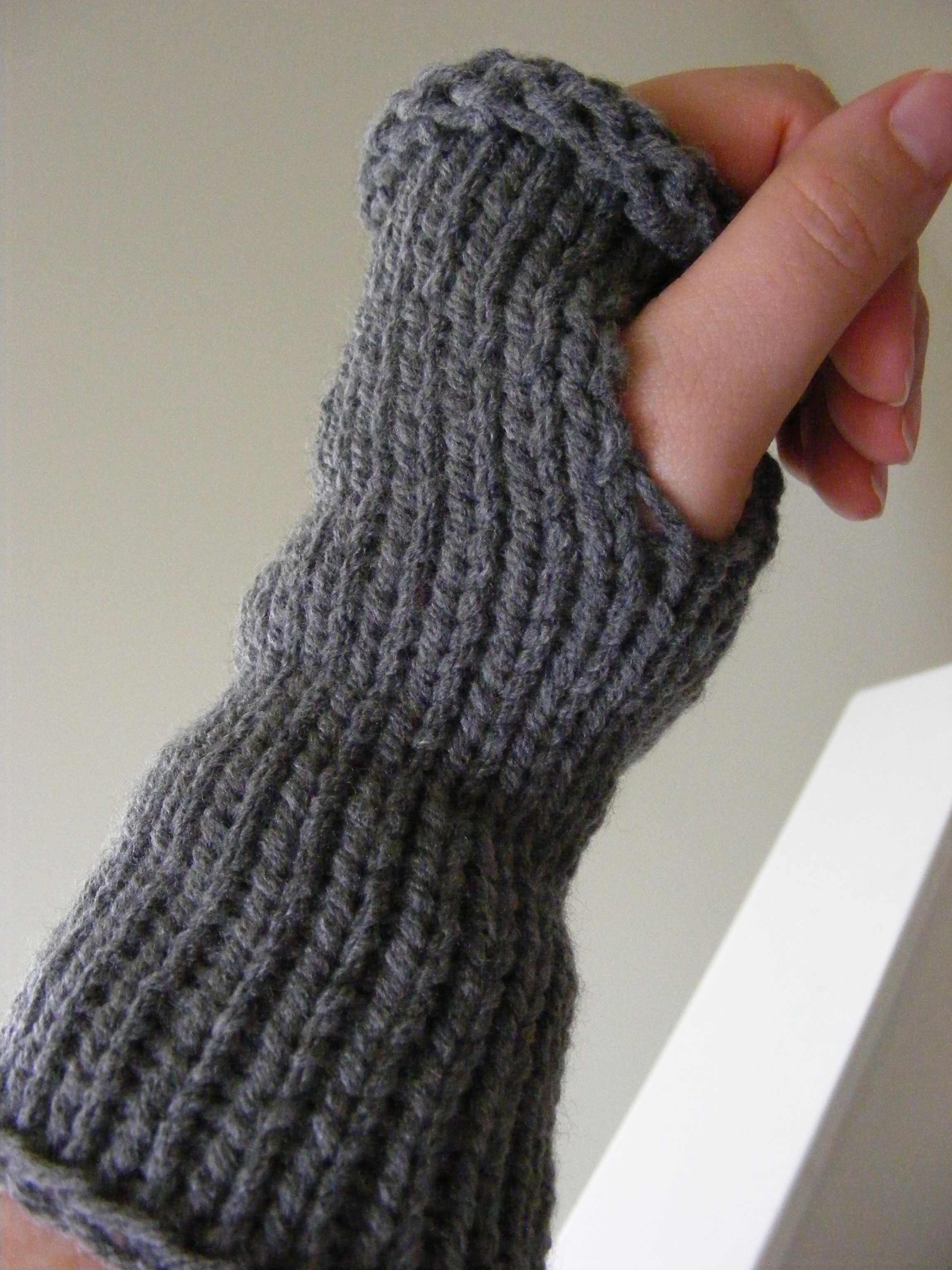 Loom Knit Fingerless Gloves Pattern : Top Down Wrist Warmer Pattern GretchKals Yarny Adventures